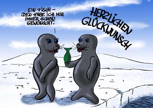 Cartoon: Geburtstag   Robbencartoon
