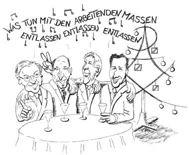 Karikatur der gesang der manager nach tucholski